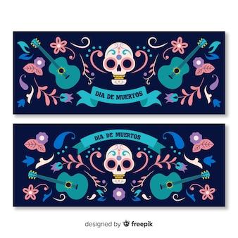 Modèle de bannières pour le design plat día de muertos