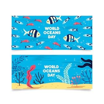 Modèle de bannières pour la journée mondiale des océans
