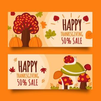 Modèle de bannières pour le thanksgiving design plat