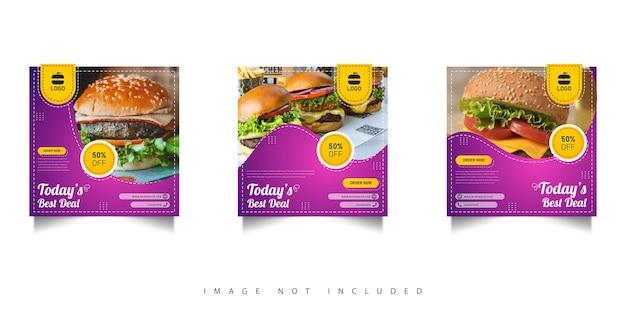 Modèle de bannières de publication de médias sociaux pour hamburger alimentaire