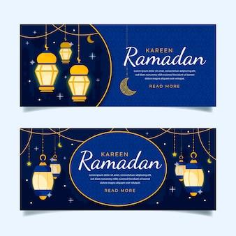 Modèle de bannières avec ramadan