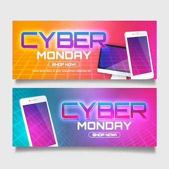 Modèle de bannières réalistes cyber lundi