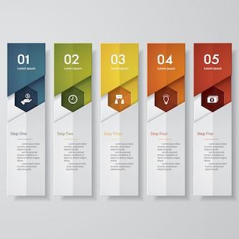 Modèle de bannières simple numéro 5 étapes propres