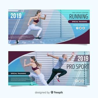 Modèle de bannières de sport avec photo