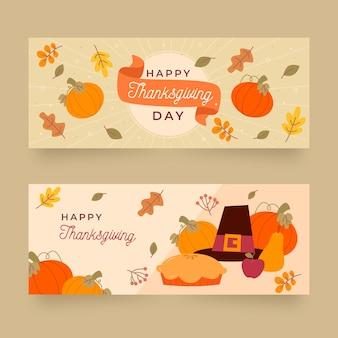 Modèle de bannières de thanksgiving design plat