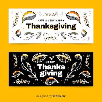 Modèle de bannières de thanksgiving dessiné à la main