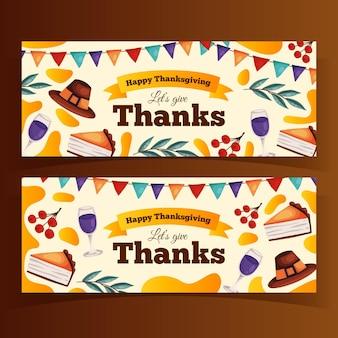 Modèle de bannières de thanksgiving dessinés à la main