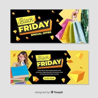 Modèle de bannières vendredi design plat noir