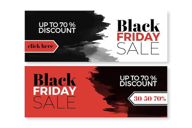 Modèle de bannières vendredi noir aquarelle
