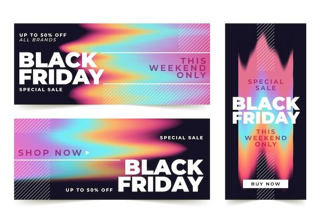 Modèle de bannières de vendredi noir dégradé
