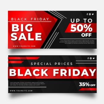 Modèle de bannières de vendredi noir design plat
