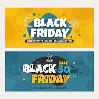 Modèle de bannières de vendredi noir dessiné à la main