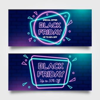 Modèle de bannières vendredi noir néon