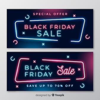 Modèle de bannières vendredi vendredi design néon