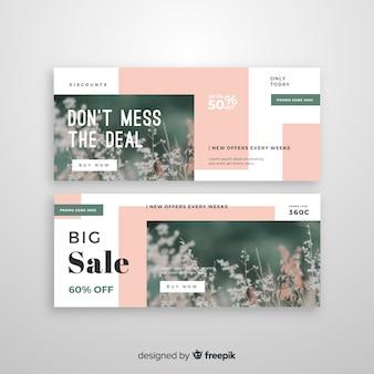 Modèle de bannières de vente abstraite avec photo
