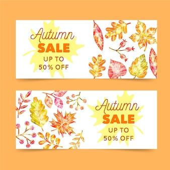 Modèle de bannières de vente automne aquarelle