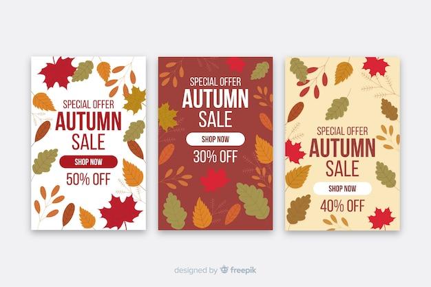 Modèle de bannières de vente automne design plat