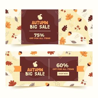 Modèle de bannières de vente automne dessinés à la main