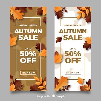 Modèle de bannières de vente automne réaliste