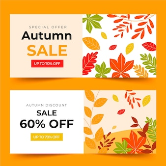 Modèle de bannières de vente d'automne