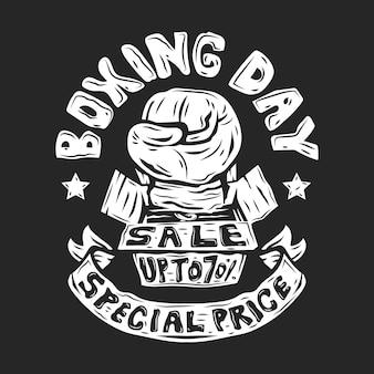 Modèle de bannières de vente de boxe dessinés à la main