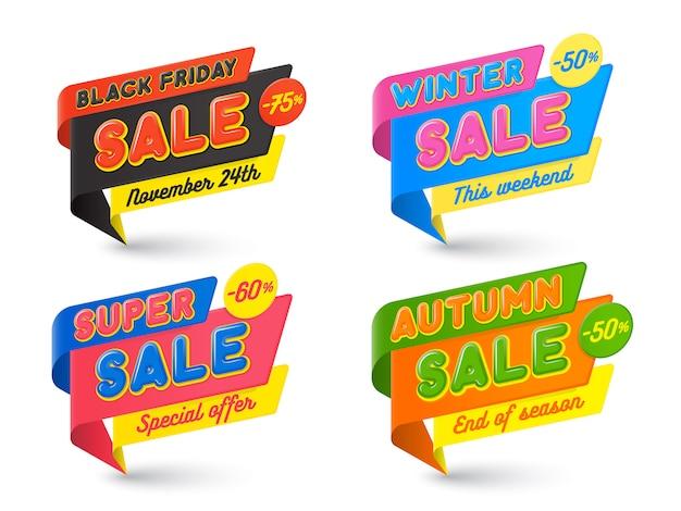 Modèle de bannières de vente, chaud, étiquette de prix, bulle de dialogue