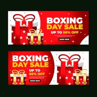 Modèle de bannières de vente design plat boxe day