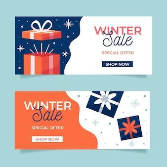 Modèle de bannières de vente design plat hiver