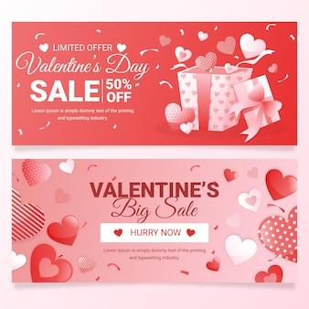 Modèle de bannières de vente design plat saint valentin