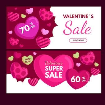 Modèle de bannières de vente design plat valentines day
