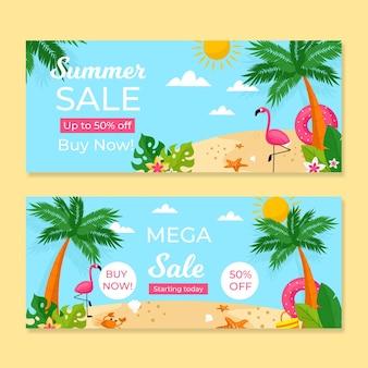Modèle de bannières de vente d'été