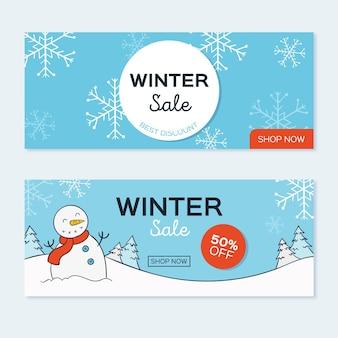 Modèle de bannières de vente hiver dessinés à la main