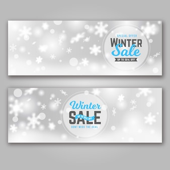 Modèle de bannières de vente hiver floue
