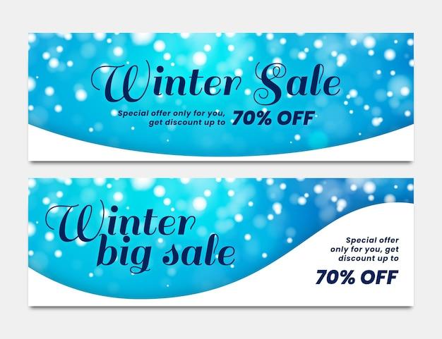 Modèle de bannières de vente d'hiver floue