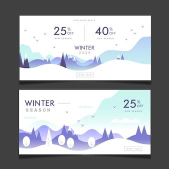 Modèle de bannières de vente d'hiver