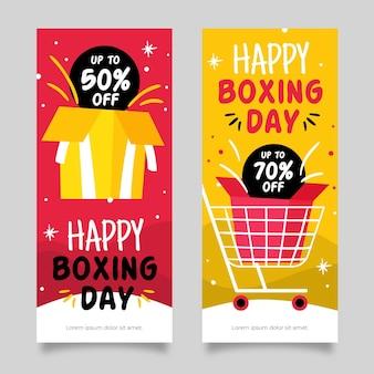 Modèle de bannières de vente de jour de boxe dessinés à la main