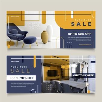 Modèle de bannières de vente de meubles avec des remises spéciales