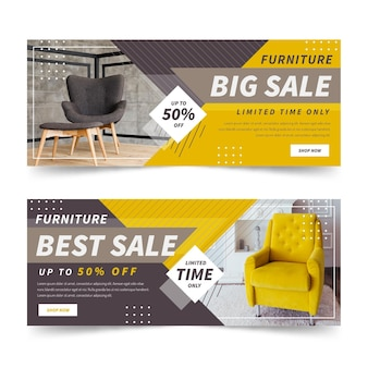 Modèle de bannières de vente de meubles