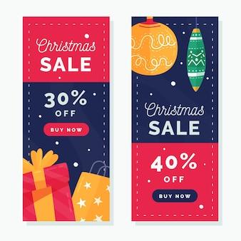 Modèle de bannières de vente de noël design plat