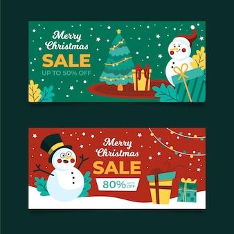 Modèle de bannières de vente de noël dessinés à la main