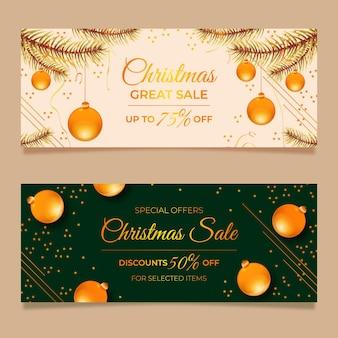 Modèle de bannières de vente de noël doré