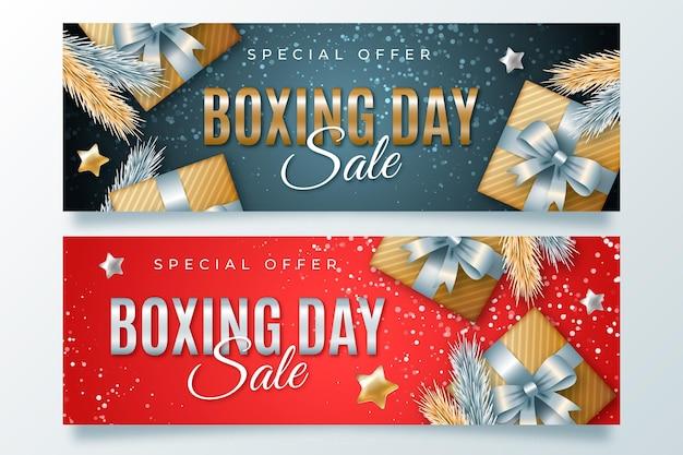 Modèle de bannières de vente réaliste boxe day