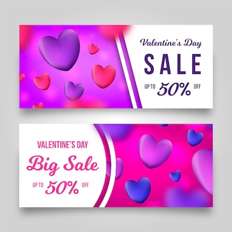 Modèle de bannières de vente réaliste saint valentin
