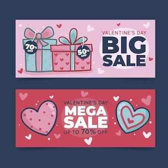 Modèle de bannières de vente saint valentin dessinés à la main