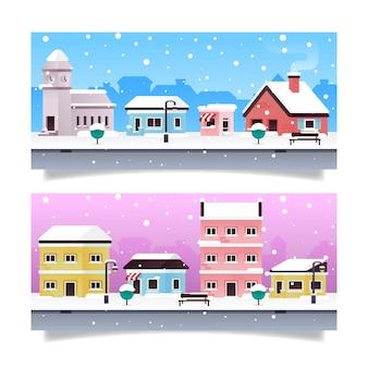 Modèle de bannières de ville de noël design plat
