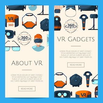 Modèle de bannières web vertical avec des éléments de réalité virtuelle style plat