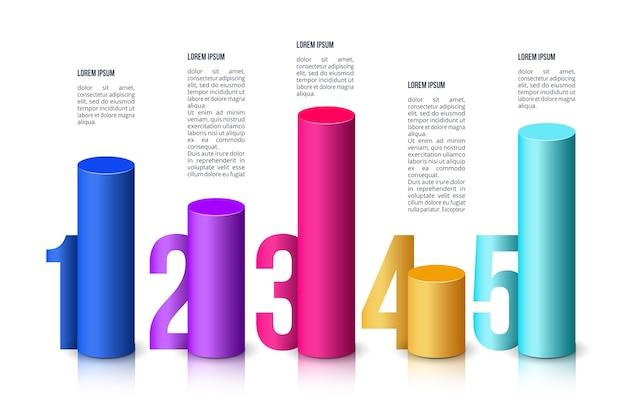 Modèle de barres 3d infographique
