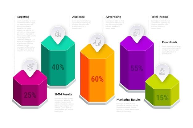 Modèle de barres 3d infographiques