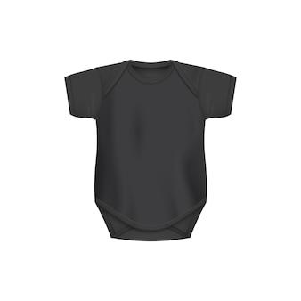 Modèle de bébé noir body vue de face illustration réaliste isolé