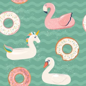 Modèle de beignet flamingo